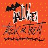 Palabra del truco o de la invitación del feliz Halloween y ejemplo del palo Imagen de archivo libre de regalías