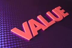 Palabra del valor en fondo de neón azul Imagen de archivo libre de regalías