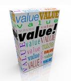 Palabra del valor en producto de calidad del precio de la caja del paquete el mejor Foto de archivo libre de regalías