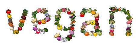 Palabra del vector de verduras vegetariano imágenes de archivo libres de regalías