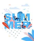 Palabra del verano y bandera plana de reclinación de la gente de la historieta libre illustration
