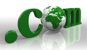 Palabra del verde de la insignia de COM y globo de la tierra Imagen de archivo
