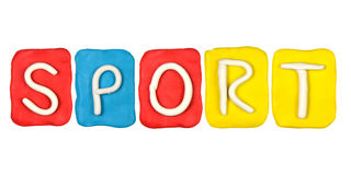 Palabra DEPORTE de la forma del alfabeto de la plastilina Foto de archivo libre de regalías