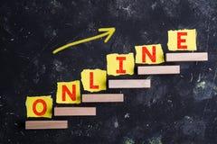 Palabra en línea en pasos fotografía de archivo