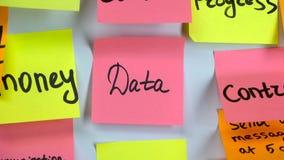Palabra en los datos de la etiqueta engomada sobre una etiqueta engomada pegada en un tablero almacen de video