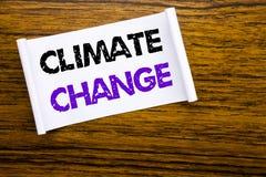Palabra, escribiendo el cambio de clima Concepto del negocio para calentarse global del planeta escrito en el documento de nota p Imagenes de archivo