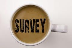 Palabra, escribiendo el texto de la encuesta en café en taza Concepto del negocio para el concepto de la investigación de la reac imágenes de archivo libres de regalías