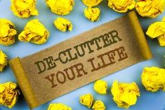 Palabra, escritura, De-montón del texto su vida Concepto del negocio gratis menos rutina limpia fresca del caos escrita en el pap foto de archivo libre de regalías