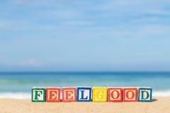 Palabra FEELGOOD en bloques coloridos del alfabeto en la playa tropical Fotos de archivo libres de regalías