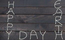 Palabra feliz del Día de la Tierra Concepto de la ecología, Día de la Tierra, mofa encima de la plantilla para añadir fotografía de archivo libre de regalías