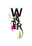 Palabra fría expresiva hermosa del invierno con la nieve Imagen de archivo
