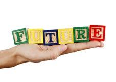 Palabra futura en una mano Imagen de archivo libre de regalías