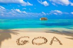 Palabra Goa en la playa Fotografía de archivo