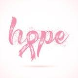 Palabra grande de la esperanza Palabra inspirada sobre conciencia del cáncer de pecho Fotos de archivo