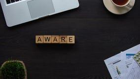 Palabra hecha de cubos, campaña de la conciencia para la prevención de la enfermedad, atención sanitaria almacen de metraje de vídeo