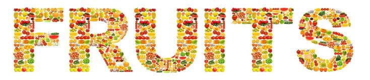 Palabra hecha de frutas Imagenes de archivo