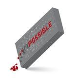 Palabra imposible en el ejemplo de la pared del bloque 3D Imágenes de archivo libres de regalías