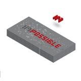 Palabra imposible en el ejemplo de la pared del bloque 3D Fotografía de archivo libre de regalías