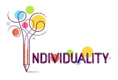 Palabra individual con el lápiz en vez de la letra yo, individualidad y concepto de la personalidad, logotipo del vector o cartel libre illustration
