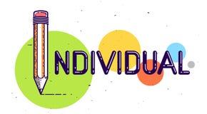 Palabra individual con el l?piz en vez de la letra yo, individualidad y concepto de la personalidad, logotipo del vector o cartel ilustración del vector