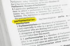 Palabra inglesa destacada y x22; parliamentarian& x22; y su definición en el diccionario fotografía de archivo libre de regalías