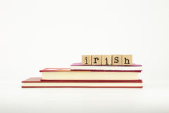 Palabra irlandesa de la lengua en sellos y libros de madera Fotografía de archivo libre de regalías
