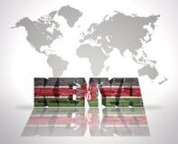 Palabra Kenia en un fondo del mapa del mundo Imágenes de archivo libres de regalías