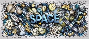 Palabra linda del espacio de los garabatos de la historieta Foto de archivo libre de regalías