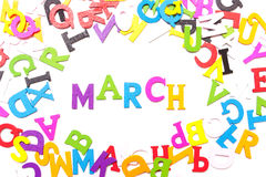 Palabra marzo de letras coloreadas Foto de archivo