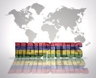 Palabra Mauricio en un fondo del mapa del mundo Imagen de archivo libre de regalías