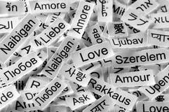 Palabra multilingüe del amor Fotos de archivo libres de regalías