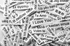 Palabra multilingüe del amor Fotografía de archivo libre de regalías