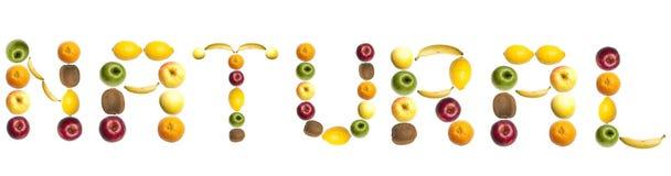 Palabra natural hecha de frutas Imagen de archivo libre de regalías