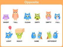 Palabra opuesta para el preescolar libre illustration
