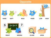 Palabra opuesta para el preescolar stock de ilustración