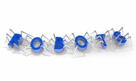 Palabra que camina de las arañas de los robots Imágenes de archivo libres de regalías