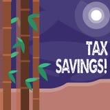 Palabra que escribe ahorros del impuesto del texto Concepto del negocio para los medios que usted paga la cantidad reducida de im ilustración del vector