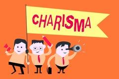 Palabra que escribe carisma del texto Concepto del negocio para la atracción que obliga o encanto que inspiran la dedicación en o stock de ilustración