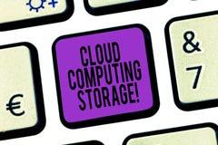 Palabra que escribe el almacenamiento de Cloud Computing del texto El concepto del negocio para los datos digitales se almacena e imágenes de archivo libres de regalías