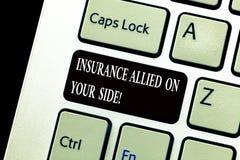 Palabra que escribe el seguro del texto aliado en su lado Concepto del negocio para la ayuda de la seguridad en caso de urgencia  imágenes de archivo libres de regalías