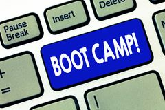 Palabra que escribe el texto Boot Camp Concepto del negocio para el campo de entrenamiento militar para la aptitud dura de la dis imagenes de archivo