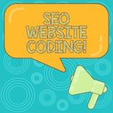 Palabra que escribe el texto Seo Website Coding Concepto del negocio para crear el sitio en manera para hacerla más visible al me ilustración del vector