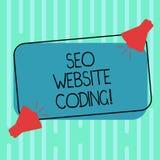 Palabra que escribe el texto Seo Website Coding Concepto del negocio para crear el sitio en manera para hacerla más visible al Se ilustración del vector