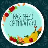 Palabra que escribe la optimización de la velocidad de la página del texto Concepto del negocio para Improve la velocidad del car stock de ilustración