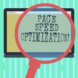 Palabra que escribe la optimización de la velocidad de la página del texto Concepto del negocio para Improve la velocidad del car libre illustration
