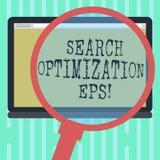 Palabra que escribe la optimización EPS de la búsqueda del texto Concepto del negocio para el proceso que afecta a la visibilidad ilustración del vector