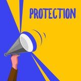 Palabra que escribe la protección del texto El concepto del negocio para el estado de la protección guardado contra peligro de la libre illustration