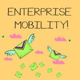 Palabra que escribe movilidad de la empresa del texto El concepto del negocio para los empleados hace trabajos remotamente usando libre illustration