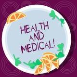 Palabra que escribe salud del texto y médico Concepto del negocio para el organismo de la condición del cual realiza sus recortes stock de ilustración