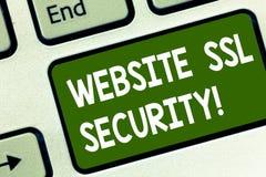 Palabra que escribe seguridad del SSL de la página web del texto Concepto del negocio para el vínculo cifrado entre un web server imágenes de archivo libres de regalías